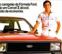 Propaganda do Corcel II com o piloto Ayrton Senna em 1983.